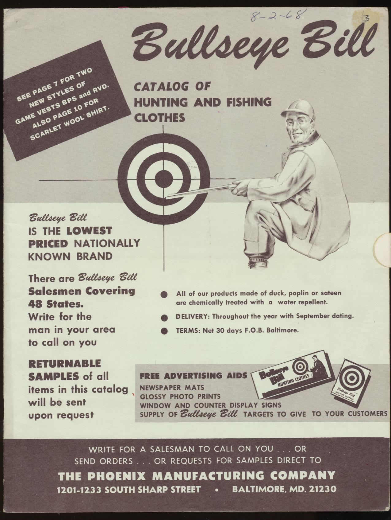 1968 Bullseye Bill Hunting/Fishing Clothes Dealer Trade Catalog