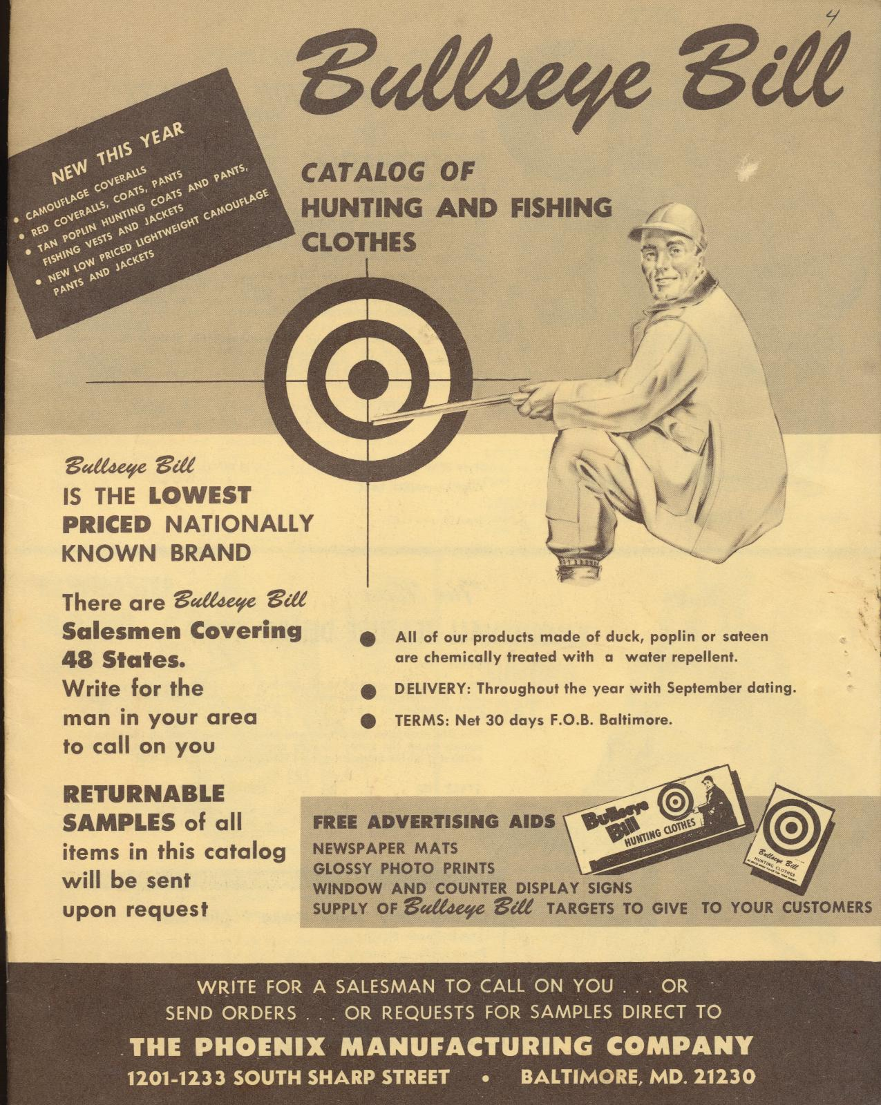 1965 Bullseye Bill Hunting/Fishing Clothes Dealer Trade Catalog