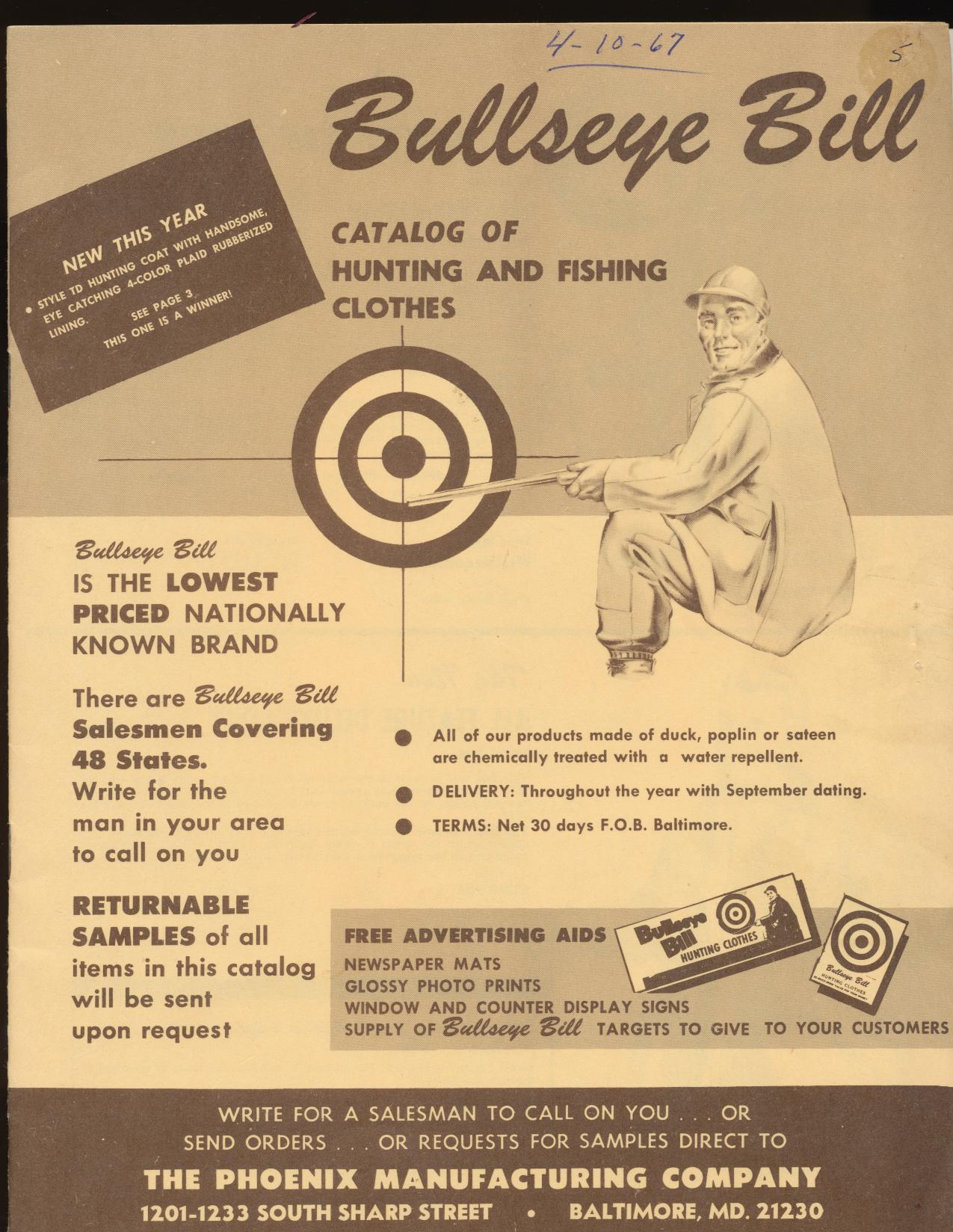 1967 Bullseye Bill Hunting/Fishing Clothes Dealer Trade Catalog