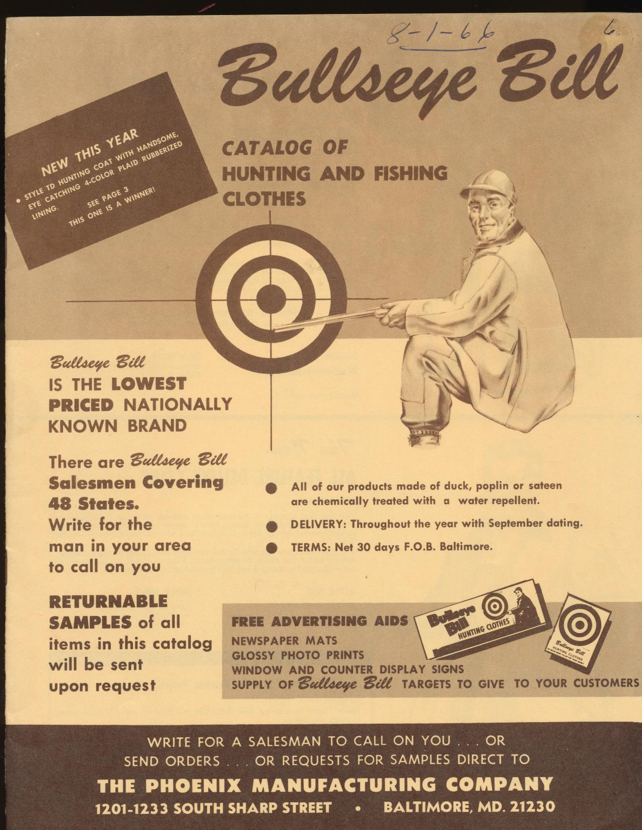 1966 Bullseye Bill Hunting/Fishing Clothes Dealer Trade Catalog