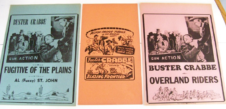 1940s Buster Crabbe Western Movie Cowboy Advertising Broadsides