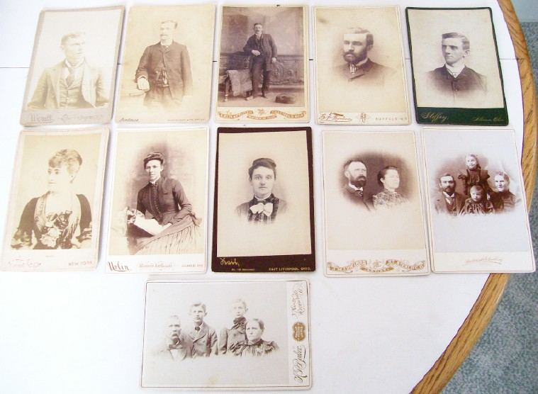 Lot Of 11 Vintage Cabinet Photos - Men, Women, Children