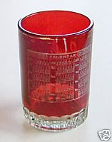 1909 Ruby Flash Glass Calendar Tumbler Or Glass