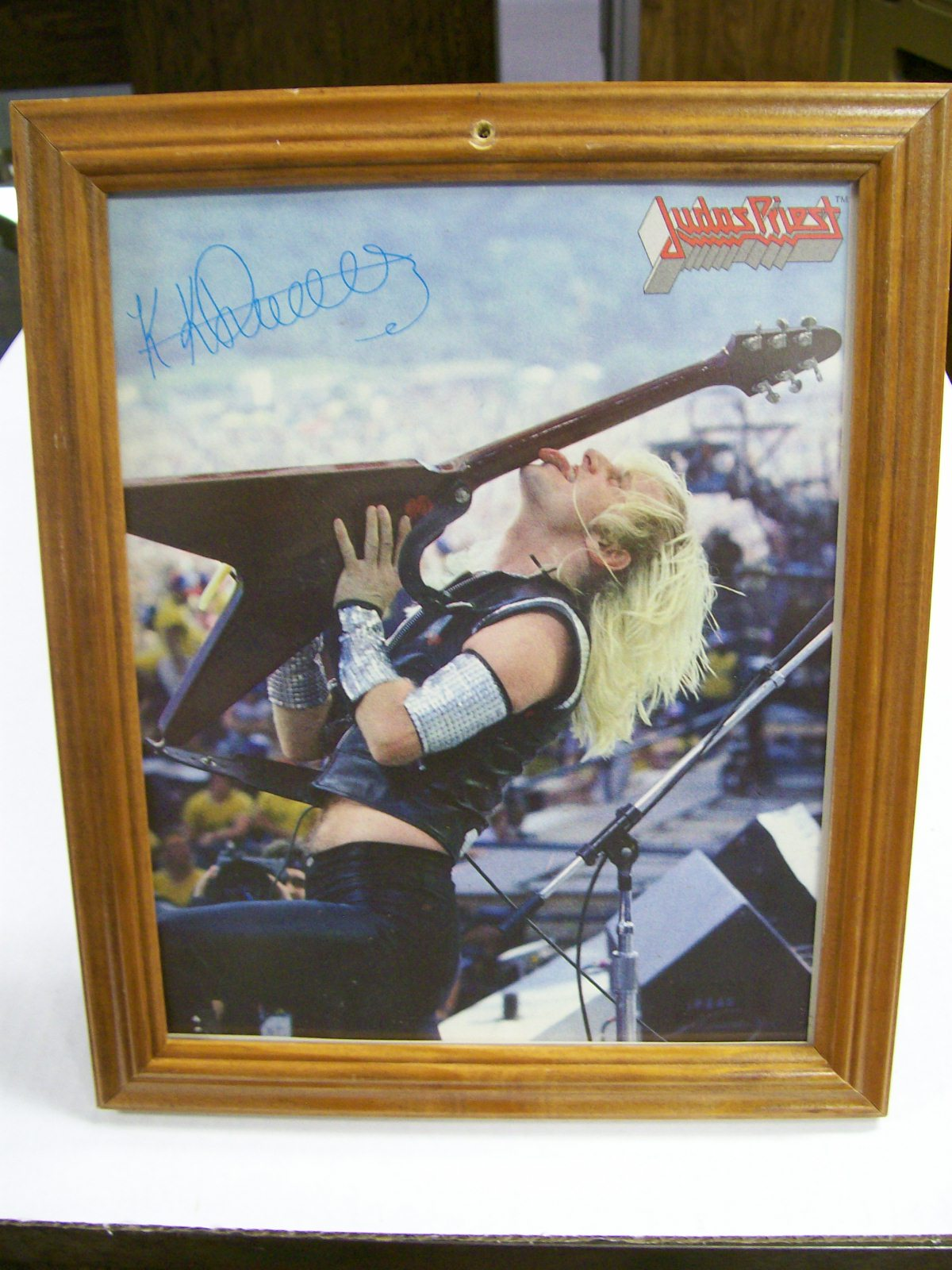K.K. Downing Autograph Color Photo/Judas Priest Band