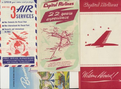 Vintage 1949 Capital Airlines Lot - Flight Kit Folder Ticket Env