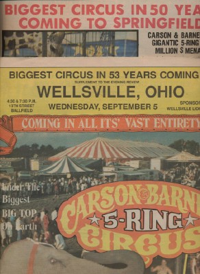 1986 Carson & Barnes Circus Advertising Couriers + 1970 Mag
