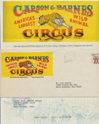 Carson & Barnes Circus Letterhead Letter Signed By General Mgr