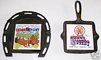 Cedar Point Cast Iron Horseshoe Ashtray + Skillet Trivet