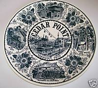Cedar Point Commemorative Ironstone Plate With Rides & History
