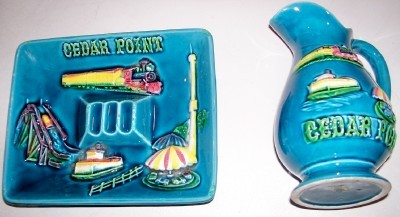 Cedar Point Ashtray & Pitcher Set With Amusement Park Rides