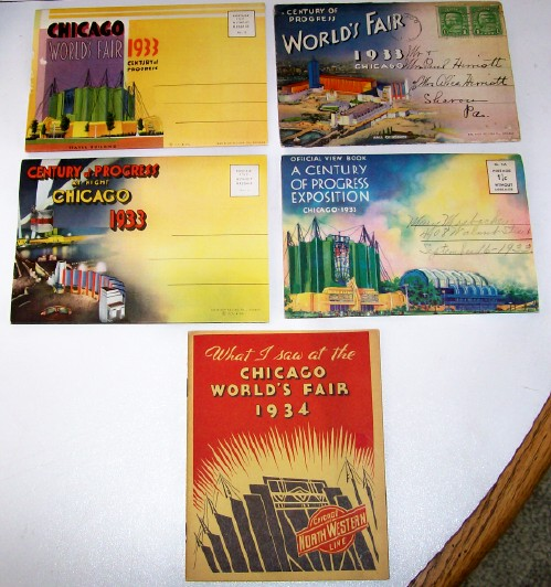 Chicago World's Fair Souvenir Postcard Folders & Railroad Book