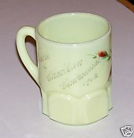 1912 Chardon Ohio Centennial Handpainted Custard Glass Mug