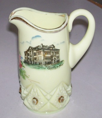 Vintage Chisholm MN High School Pictorial Custard Glass Pitcher
