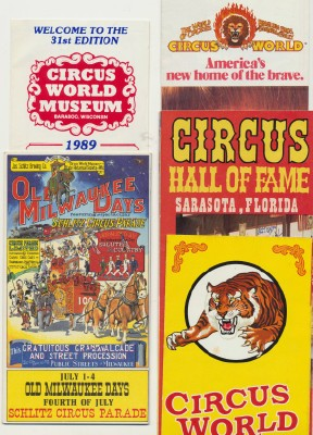 1966-1989 Lot Of Circus Museum Advertising Travel Brochures
