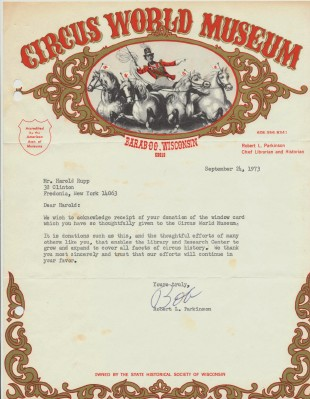 Circus World Museum Letter Signed By Chief Librarian & Historian
