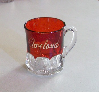 Cleveland Ohio Souvenir Ruby Flash Glass Cup