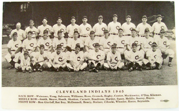 "1945 Cleveland Indians Baseball Team Photo With ""Autographs"""
