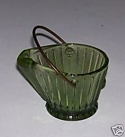Very Rare Vintage Green Glass Coal Bucket Ashtray - Mint