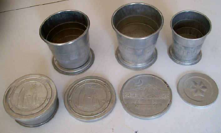 Vintage 1940s-50s Aluminum Lidded Collapsible Cups Incl Kid Size