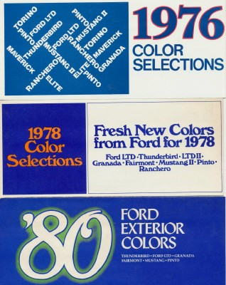 Vintage 1976 Ford 1978 Ford & 1980 Ford Color Chip Charts