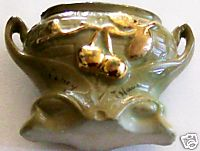 Coney Island Souvenir Pottery Mini Vase With Gold Flash