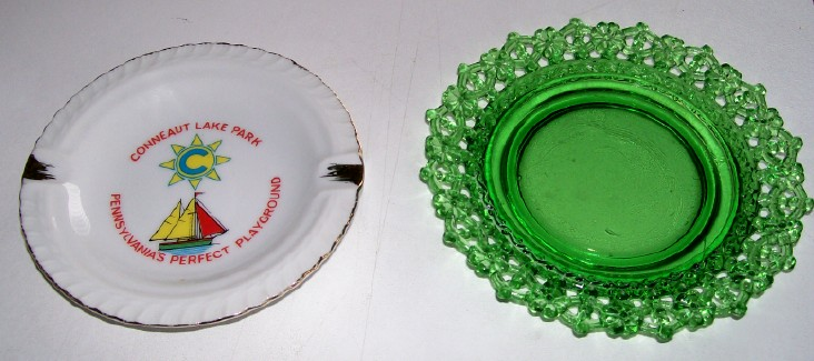 Conneaut Lake Park Souvenir Lacy Edge Glass Plate & Ashtray