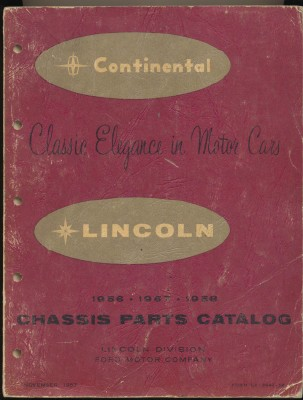 1956 1957 1958 Continental Lincoln Chassis Parts Catalog