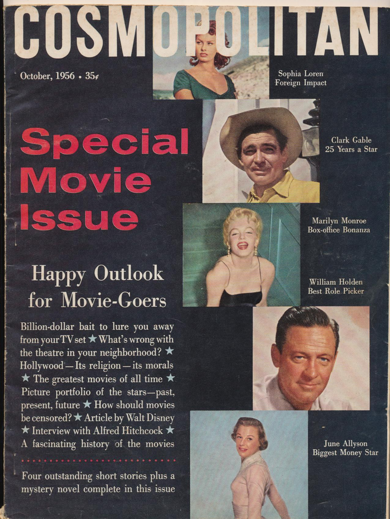 October 1956 Cosmo Movie Issue - Marilyn Clark Sophia June ++