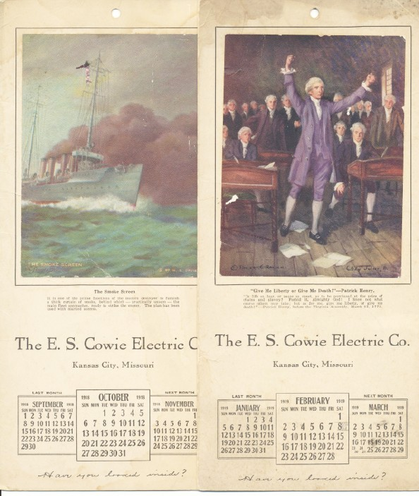 1918-1919 E S Cowie Electric Co Advertising Calendars - Battery