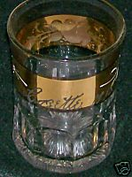 1915 Cozette Gold Flash Band Handpainted Glass Tumbler