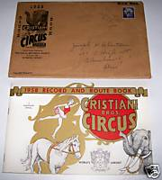 1958 Cristiani Bros Circus Program & Route Schedule Book