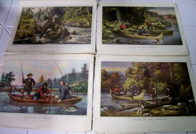 Set Of 7 Currier & Ives Hunting & Fishing Prints