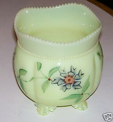 Custard Glass Footed Sugar Bowl - Handpainted Violets