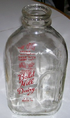 Vintage Bald Hill Dairy Mercer PA 1/2 Gallon Milk Bottle