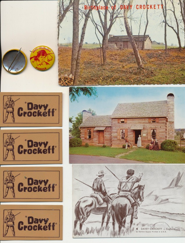 Vintage Davy Crockett Lot - Leather Patches Pinbacks Postcards