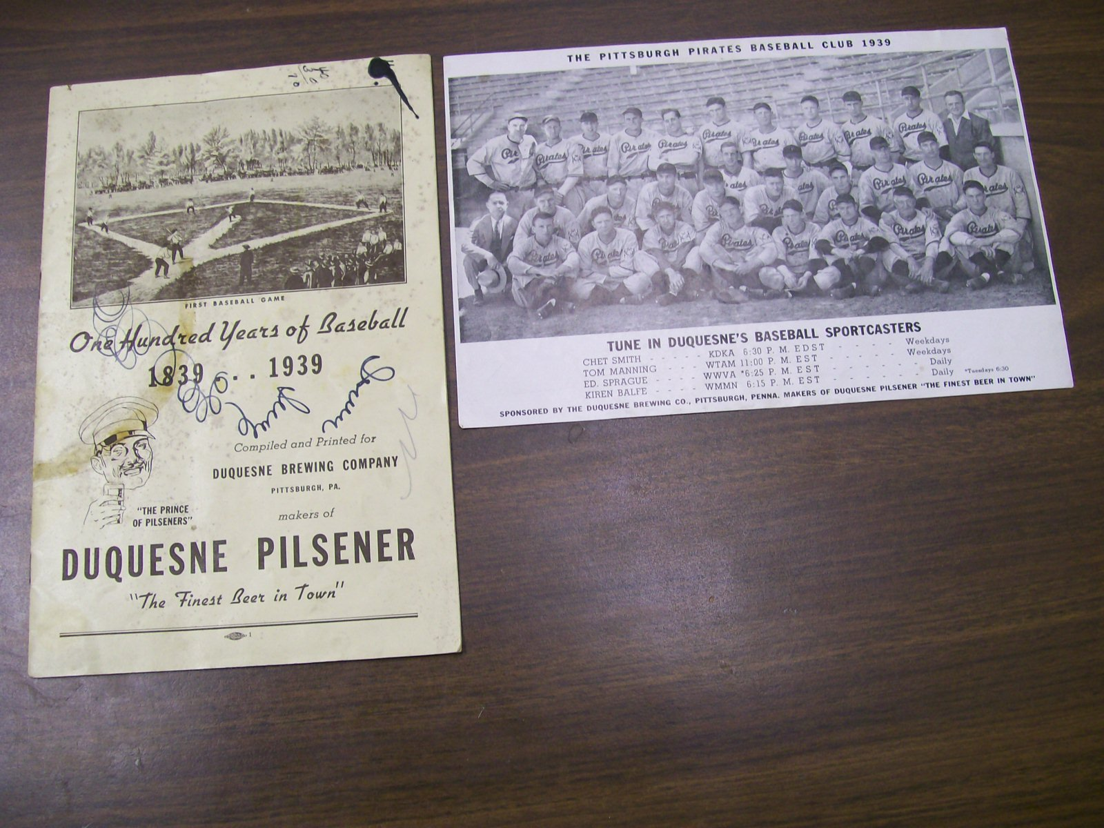 ONE HUNDRED YEARS OF BASEBALL 1939 PIRATE TEAM PHOTO-RARE