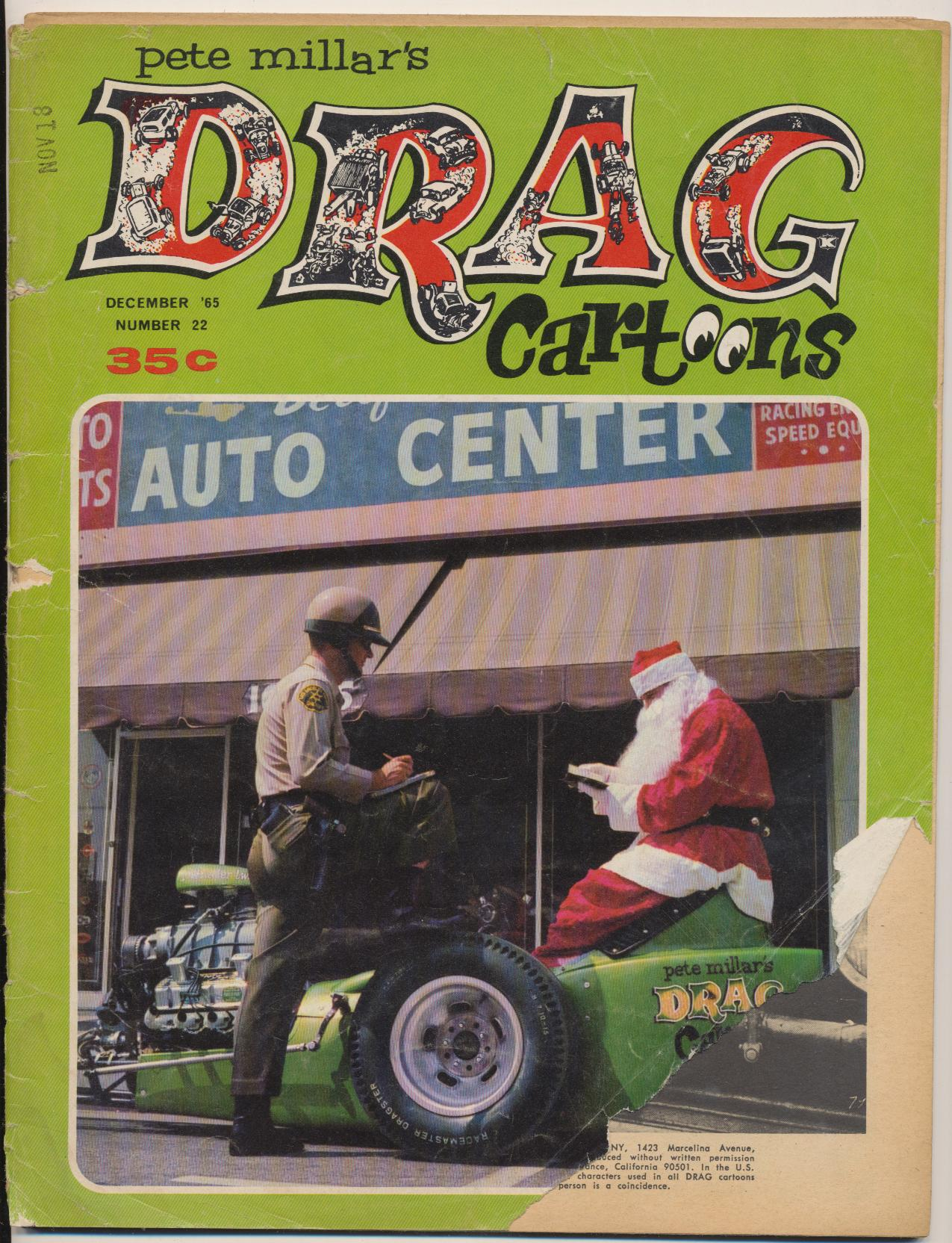 December 1965 #22 Pete Millar's Drag Cartoons Comic Book