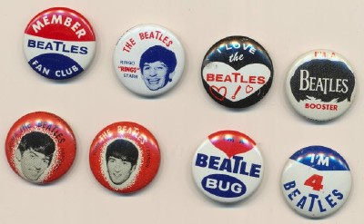 Set Of 8 Vintage Beatles Pinback Pins By Green Duck