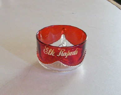Vintage Elk Rapids MI Souvenir Ruby Flash Glass Cup