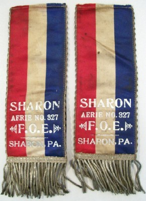 Early Sharon PA FOE Elks Lodge Fringed Ribbon Badge Pair