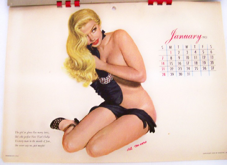 1951 Esquire Girl Cheesecake Pin Up Calendar - Al Moore