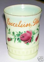 Excelsior Wisconsin Custard Glass Tumbler Signed Heisey