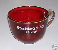 Excelsior Springs Missouri Souvenir Ruby Flash Glass Coffee Cup