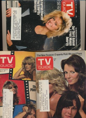 3 Different Vintage TV Guides With Farrah Fawcett Covers