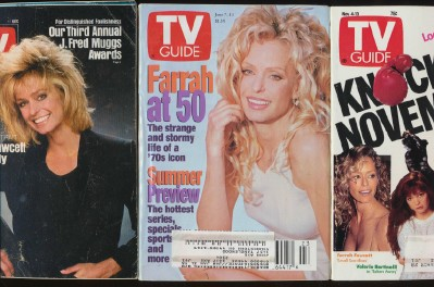 7 Different Vintage TV Guides With Farrah Fawcett Covers