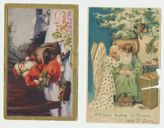 Santa Claus Father Christmas Postcards Green Robe Angel Whispers