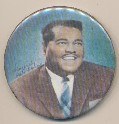 Vintage Fats Domino Photo Pinback Pin W/Fascimile Signature