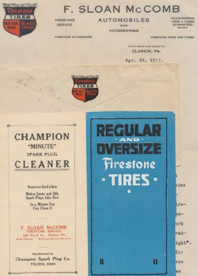 1917 Clarion PA Champion Spark Plug & Firestone Tires Adv Lot