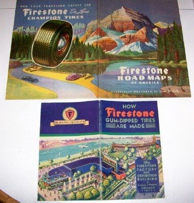 1933 World's Fair Lot - Pennant Decal Firestone Tire Books