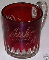 1899 Ruby Flash Glass Small Cup Or Mug - Alfred R Fish